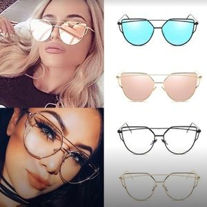 Double Bridge Metallic Cat Eye Sunglasses